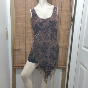 CACHE brown sheer tunic floral design beaded trim